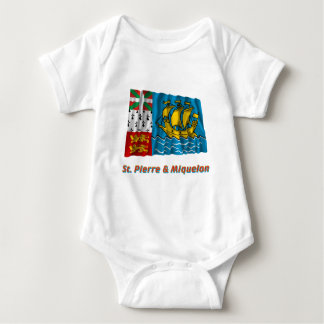 Saint-Pierre and Miquelon Waving Flag with Name Baby Bodysuit