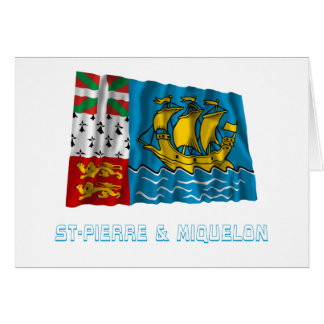 Saint-Pierre and Miquelon Waving Flag with Name Card