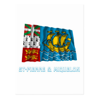 Saint-Pierre and Miquelon Waving Flag with Name Postcard