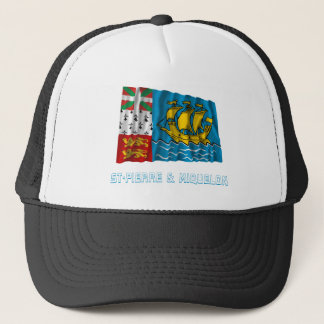 Saint-Pierre and Miquelon Waving Flag with Name Trucker Hat