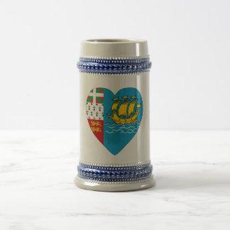Saint Pierre & Miquelon Flag Heart Beer Stein