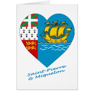 Saint Pierre & Miquelon Flag Heart Card