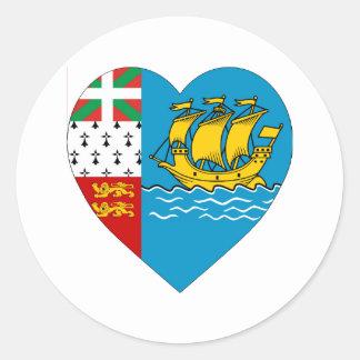 Saint Pierre & Miquelon Flag Heart Classic Round Sticker