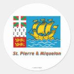 Saint Pierre y bandera de Miquelon con nombre Pegatinas