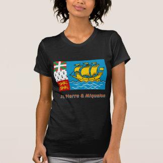 Saint Pierre y bandera de Miquelon con nombre T Shirts