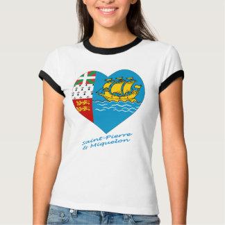 Saint Pierre y corazón de la bandera de Miquelon T-shirt
