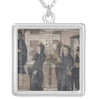 Saint Robert and various Benedictine Silver Plated Necklace