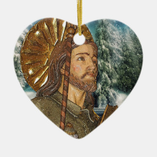 Saint Rocco Heart Prayer Ceramic Ornament