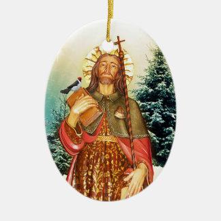 Saint Rocco Oval Prayer Ceramic Ornament