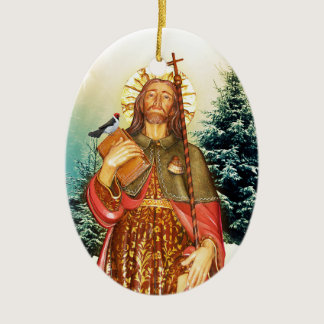 Saint Rocco Oval Prayer Ceramic Ornament