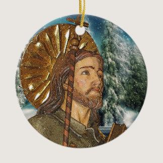 Saint Rocco Round Prayer Ceramic Ornament
