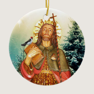 Saint Rocco  Round Prayer Ceramic Ornament