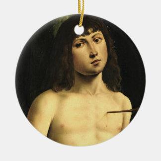 Saint Sebastian, c.1490s (tempera on panel) Ceramic Ornament