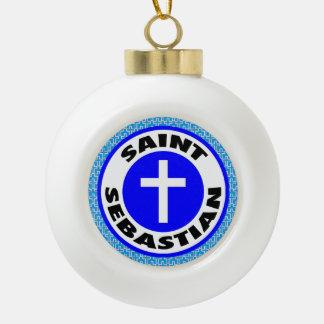 Saint Sebastian Ceramic Ball Christmas Ornament
