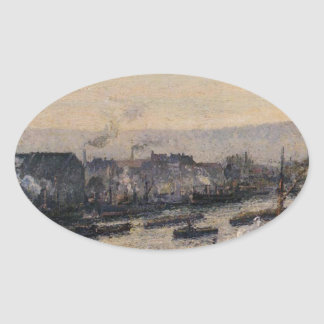 Saint-Sever Port, Rouen by Camille Pissarro Oval Sticker