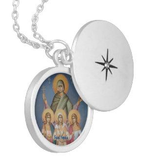 Saint Sophia Round Silver Plated Locket