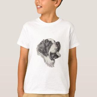Saint St. Bernard Dog Profile Portrait Drawing T-Shirt