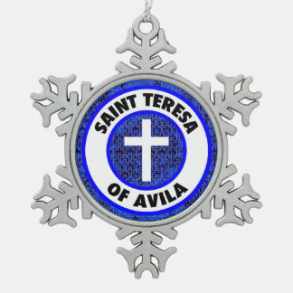 Saint Teresa of Avila Snowflake Pewter Christmas Ornament