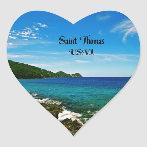 Saint Thomas U.S.V.I. Heart Sticker