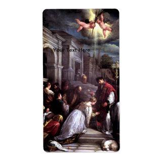 Saint Valentine Baptizing Saint Lucilla - Bassano Shipping Label