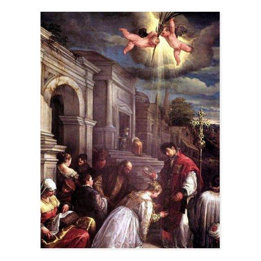 Saint Valentine baptizing Saint Lucilla postcard