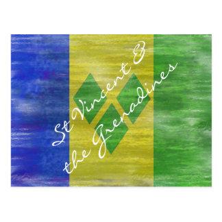 Saint Vincent and the Grenadines distressed flag Postcard