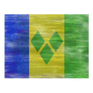 Saint Vincent and the Grenadines distressed flag Postcard