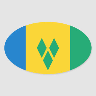 Saint Vincent and The Grenadines Flag Oval Sticker