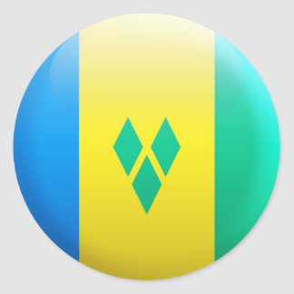 Saint Vincent and the Grenadines Flag Round Stickers