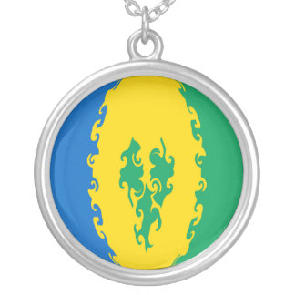 Saint Vincent and the Grenadines Gnarly Flag Round Pendant Necklace
