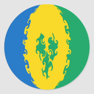 Saint Vincent and the Grenadines Gnarly Flag Round Stickers