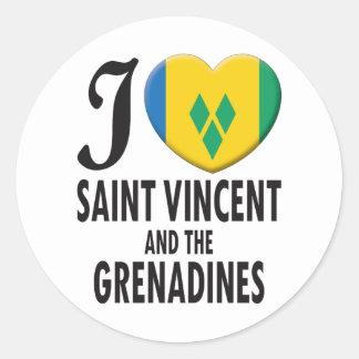 Saint Vincent and the Grenadines Love Round Sticker