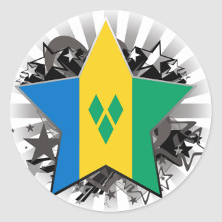 Saint Vincent and the Grenadines Star Round Stickers