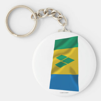 Saint Vincent and the Grenadines Waving Flag Keychain