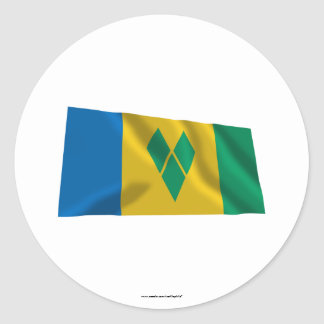 Saint Vincent and the Grenadines Waving Flag Round Sticker