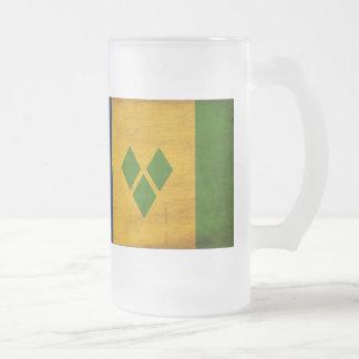 Saint Vincent Flag Frosted Glass Beer Mug