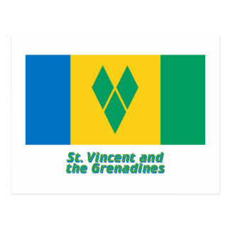 Saint Vincent Flag with Name Postcard