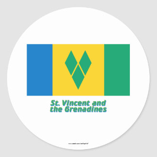 Saint Vincent Flag with Name Round Sticker