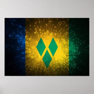 Saint Vincent; Grenadines Flag Firework Posters