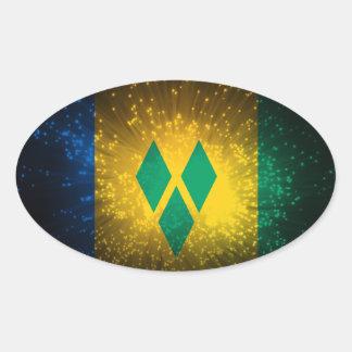 Saint Vincent Grenadines Flag Firework Oval Stickers