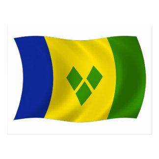Saint Vincent Grenadines Flag Postcard