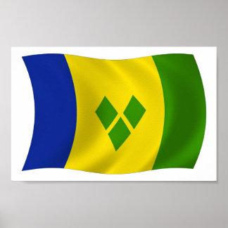 Saint Vincent Grenadines Flag Poster Print