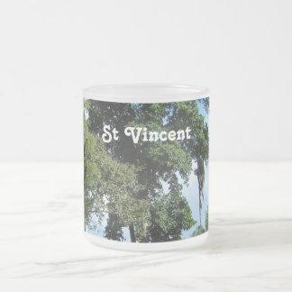 Saint Vincent Island 10 Oz Frosted Glass Coffee Mug