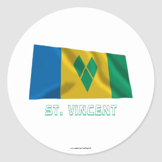 Saint Vincent Waving Flag with Name Round Sticker