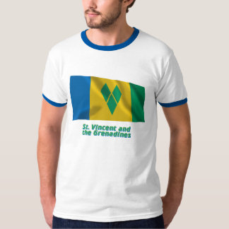 Saint Vincent Waving Flag with Name T-Shirt