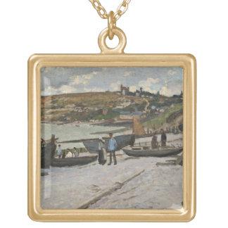 Sainte-Adresse, 1867 (oil on canvas) Square Pendant Necklace