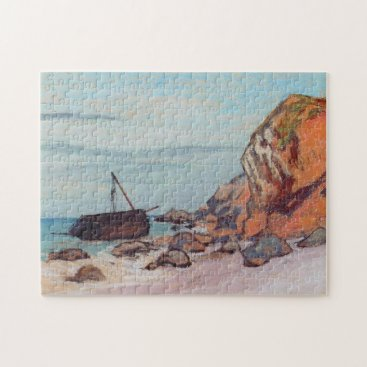 Beach Themed Sainte-Adresse, Beached Sailboat Monet Fine Art Jigsaw Puzzle