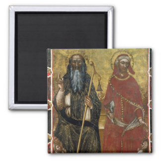 Saints Anthony Abbot and Eligius - Painted process 2 Inch Square Magnet