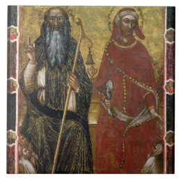 Saints Anthony Abbot and Eligius - Painted process Ceramic Tile