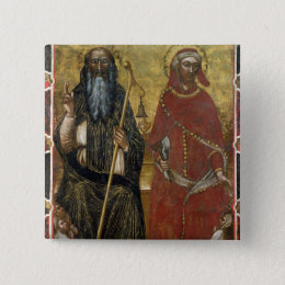 Saints Anthony Abbot and Eligius - Painted process Pinback Button
